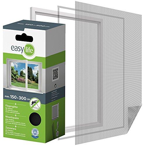 Insektenschutz Fliegengitter für Fenster 300 x 150 cm anthrazit