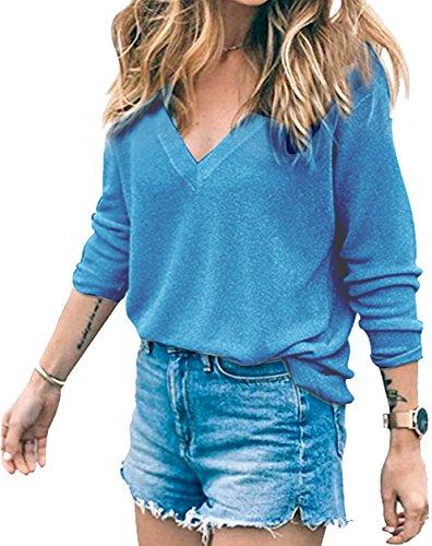 Meyison Damen V Ausschnitt Casual Shirts Knit Pullover Tops Blau-XXL (100% Top Baumwolle)