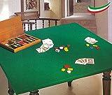 Salvatavolo Copritavolo Mollettone da Poker Panno da Gioco Colore Verde Made in Italy Rettangolare Misura cm 135x220