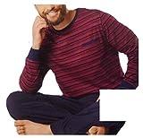 Herren Schlafanzug Pullover + Hose lang Pyjama Rot gestreift M L XL *275864 (M 48 50)