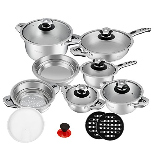 Velaze Pot & Pan Sets, Series Haru, 16-Piece Stainless Steel Cookware Set, Induction, Includes Saucepan, Saucepan, Pan, Salad Bowl, Steaming Insert (Set of 16)