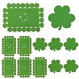 Whaline 12 Stück Filz Kleeblatt Tischsets und Untersetzer irisches Glücksklee Design Set für St. Patrick's Day Esszimmer Küche Tischdekoration