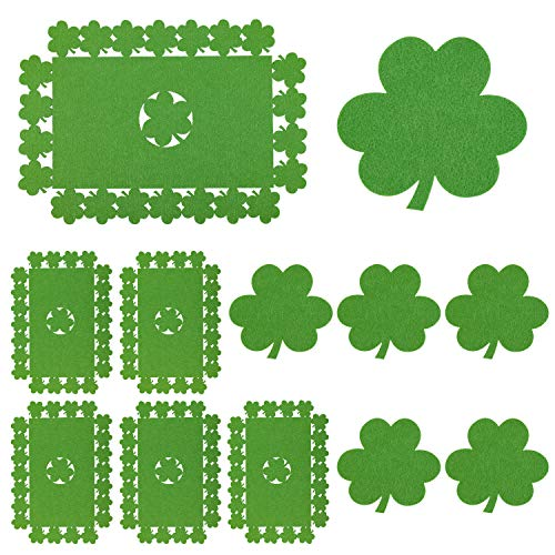 Whaline 12 Pack Felt Shamrock Table Place Mats and Coaster, Irish Lucky Clover Design Mat Set for St. Patrick's Day Dining Room Kitchen Table Decoration