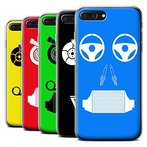 Stuff4 Gel TPU Hülle / Case für Apple iPhone 7 Plus / Turbo/Grün Muster / Autoteile Gesichter Kollektion Pack 5pcs