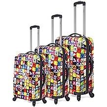 Set 3 maletas estampadas, con 4 ruedas multidirección. Tiene las medidas para aerolineas principales. ¡Ofertas juego maletas al mejor precio!