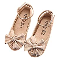 Chickwin Princess Shoes for Girls Sandals Summer Comfortable Sandals Fashion Flat Shoes Beach Party Walking Vacation Best Gifts for Girls (21=UK:3.5=130mm, Gold)