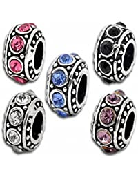 Hexawata Silver Color Colorful Rhinestone Spacer European Beads For Charms Bracelet Pack Of 10Pcs
