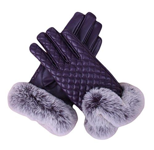 Bigood Gants Chauffants Femme Faux Cuir Fourrure Gant Tactile Ecran Hiver Protection Ski Chaud Violet