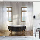 Viowr22iso Fabric Shower Curtain Liner with Hooks Antique Retro Bathtub in Modern Room Interior Hardwood Classics Space Design Ivory White Waterproof Curtains Set for Bathroom Decor 72 X 80''