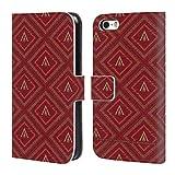 Head Case Designs Offizielle Assassin's Creed Rot Und Gold Logo Odyssee Muster Brieftasche Handyhülle aus Leder für iPhone 5 iPhone 5s iPhone SE