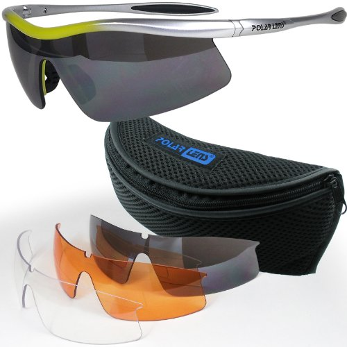 POLARLENS SERIES S27-01 Sonnenbrille / Radbrille / Sportbrille / Triathlon + Wechselgläser + Gürteltasche !