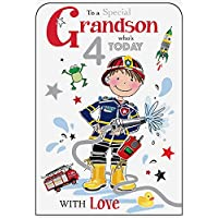 Grandson 4th Birthday Card