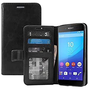 Sony Xperia Z4 Cover, DMG Premium Leather Magnetic Wallet Case with Detachable Back Cover Case for Sony Xperia Z4 (Black)