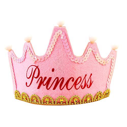 LED-Licht Prinzessinnenkönig Happy Birthday Krone, Tiara Kostüm Zubehör für Kinder und Erwachsene Normal Pink Princess