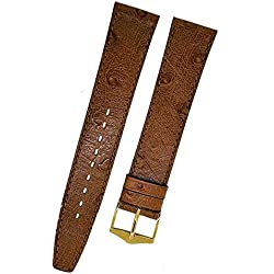 Fortis Swiss Brown Leather Watch Strap With Brown Stitching 16 mm Gold 9116