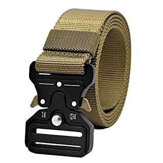Tactical Rigger MOLLE Belt Quick Release Gear Clip Metal Buckle Compact Rappel CQB Military Web Nylon Outdoor Sport Men EDC Operator Waist Band, One Size, TAN
