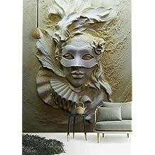 Papel Pintado Relieve 3D Máscara Enmascarada Papel Tapiz Sala De Estar Papel Tapiz Moderno Fondo Pintura
