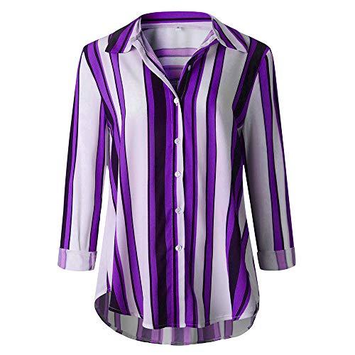 ie-Bow Neck Striped Langarm Spleiß Bluse Gestreift Tragen(Z1-Violett,EU-42/CN-XL) ()