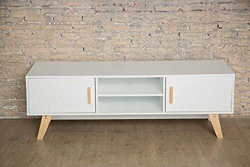 Mesa para café de madera blanca, estilo retro, escandinavo, soporte para televisión