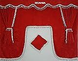 5-Teilig Set Rot Gardinen mit Weiß Bommeln UNIVERSAL GRÖSSE Alle Modelle Truck LKW Zubehör Dekoration Innenraum Vorhänge Plüsch Stoff