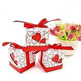 JZK® 50 x Rot Herz Papier Favor Box Geschenkbox Schachtel für Gefälligkeiten Süßigkeiten Konfetti Bonbons, Tischdeko für Hochzeit Geburtstag Party Babyparty Baby Shower Festival