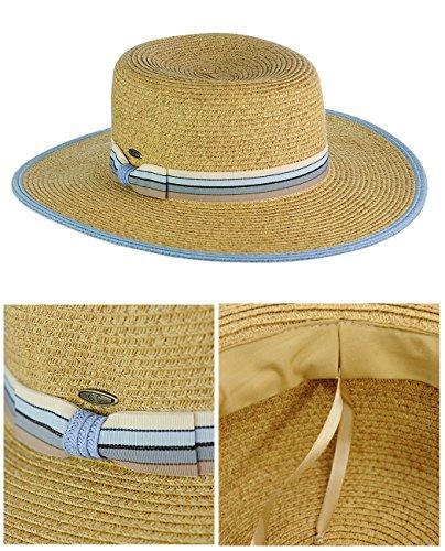 C.C Chapeau Canotier d'été décoré d'un ruban gros-grain multicolore Rôtie/Bleu