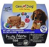 GimDog Futter – Little Darling Fruity Menu Paté mit Lamm und Waldfrüchten – Für Hunde bis 10 kg – Glutenfrei – Hundefutter ohne künstliche Aromen & Farbstoffe – Hundenassfutter 800g (8 x 100g)