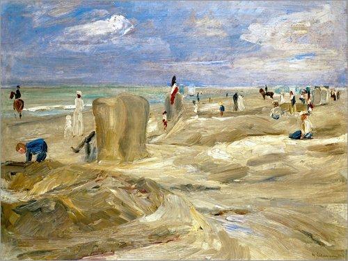 Posterlounge Leinwandbild 80 x 60 cm: Strand bei Noordwijk von Max Liebermann - fertiges Wandbild, Bild auf Keilrahmen, Fertigbild auf echter Leinwand, Leinwanddruck