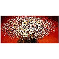 ZXCVB Handgemaltes Ölgemäldecanvas On The Wall For The Living Room Decoration Palette Knife 3D Texture Acrylic Floral Decoration,60X120Cm