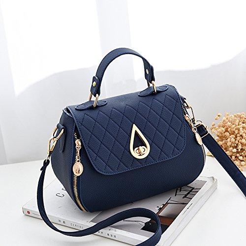 LiZhen piccoli pacchetti femmina di nuova tendenza di le donne coreane il pacchetto a un algebra lineare tote bag, piccolo pacchetto, m grigio Blu scuro