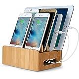 Upow Estación de Carga de Bambú natural para Multi-dispositivo,con 4 Cuadros,Organizador de Escritorio,Soporte de Carga para Iphones,Samsungs,Tabletas,Ipads.