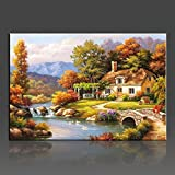 WONZOM Rural Landscape DIY Oil Painting By Numbers Canvas Art Home Decor Wall Picture 16*20 Inch