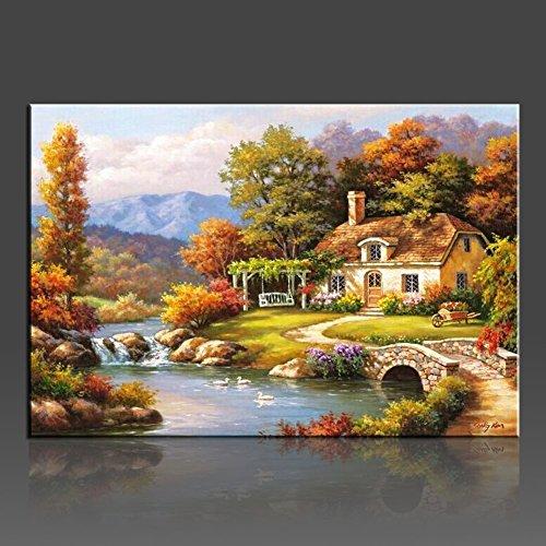 Wonzom landschaftliches Ölgemälde, Malen nach Zahlen, auf Leinwand, Wanddekoration für Zuhause, Größe: 40,6x50,8cm