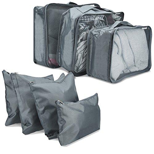 Navaris set de 7 organizadores para maleta - 7 bolsas para ropa zapatos lavandería - cubos de embalaje para viajes en gris