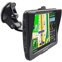 AWESAFE GPS para Coche y camión con Pantalla Táctil HD de 7 Pulgadas Reproductor Multimedia Navegador GPS con Mapa de Europa