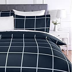 AmazonBasics - Juego de ropa de cama con funda de edredón, de microfibra, 135 x 200 cm, Azul marino a cuadros (Navy Simple Plaid)