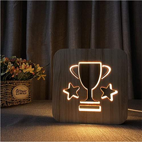 nder 3D Trophäe Led Lampe Holz Licht Illusion Luminaria Tabelle Geschenke Für Kinder Baby Geburtstag Bett Schlaf Licht Dekoration ()