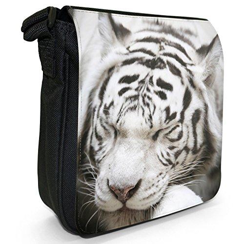 Bianco Tigri piccolo nero Tela Borsa a tracolla, taglia S White Tiger Sleeping