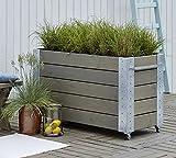 Woodinis Cubic Hochbeet Blumenkasten PSY rollbar 120x50x70 graubraun - Woodinis-Spielplatz®