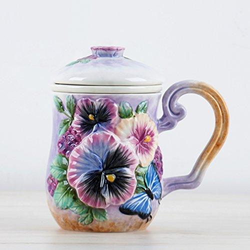 TIANLIANG04 Becher、Kaffeetassen Keramik Tasse Tee Riemenabdeckung Bandfilter Büro Kaffee Tasse...