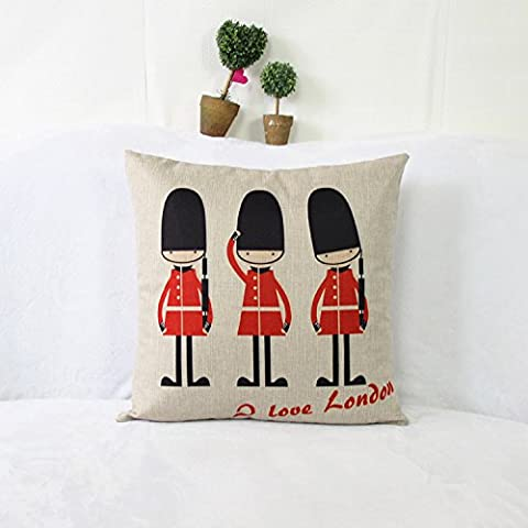Luxbon Vintage London Guards Traditional Printed Cushion Cover Durable Cotton Linen Throw Pillow Case Home Car Decors 18