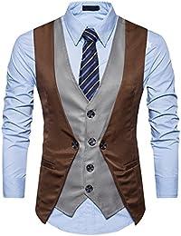 YCHENG Hombre 4 Botón Falso dos Piezas Clásico Chaleco Vestir de Boda Casual Smoking Slim Fit Blazers