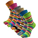 AIEOE 6 Pairs Womens Five Fingers Toe Socks Cotton Breathable Sports Running Socks