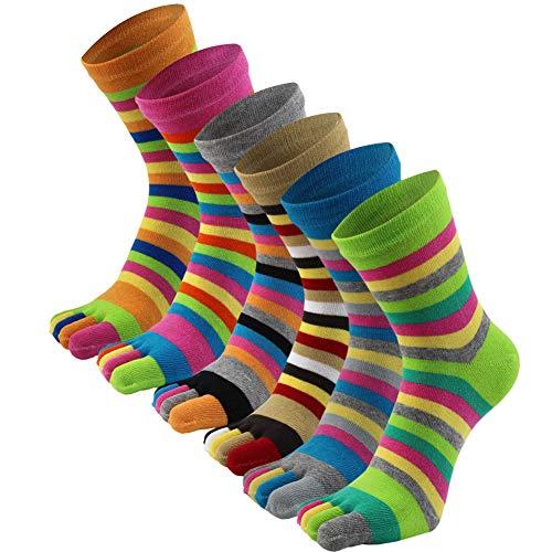 AIEOE - 6 Paires de Chaussettes Femme Fille Socquettes Doigts de Pied Séparés Chaussettes en Coton Souple et Respirante,Multicolore,Taille unique