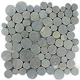 Flusskiesel Mosaikfliese Coin Rund Dunkelgrau