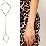 Minzhi Frauen Ankunft Modeschmuck Schöne Nachahmung Perlenkette Verbundenen Finger Schleife Armband Elegante Draht Handkette