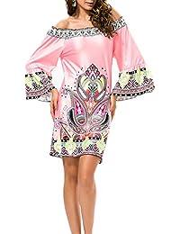 bf7b16658af Chic Femme Vintage Boheme Imprimé Style Ethnique Manches Longues  Occasionnels Robe Trompettes