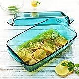 SMC Teller Blaues Glas 2-Teiliges Set Rechteck Glas Mikrowellenherd Backblech Haushalt Ofen Schüssel Käse Reisgericht Fischplatte 33,5 * 19 * 10,5 cm