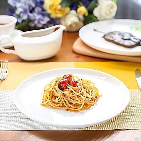 Assiettes en céramique plat de porcelaine d'os pur hôtel plaque steak coutellerie ménage télévision lune 25,8*2,2CM UN 32,2*2,8