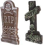 Balacoo 2pcs Halloween Decoration Tombstone Halloween Foam Graveyard for Party Outdoor Yard Gardem Spooky Orna